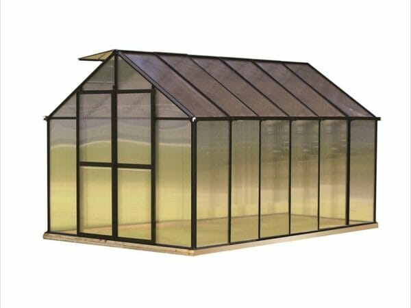 Riverstone Monticello Greenhouse 8x12 with black frame and white background