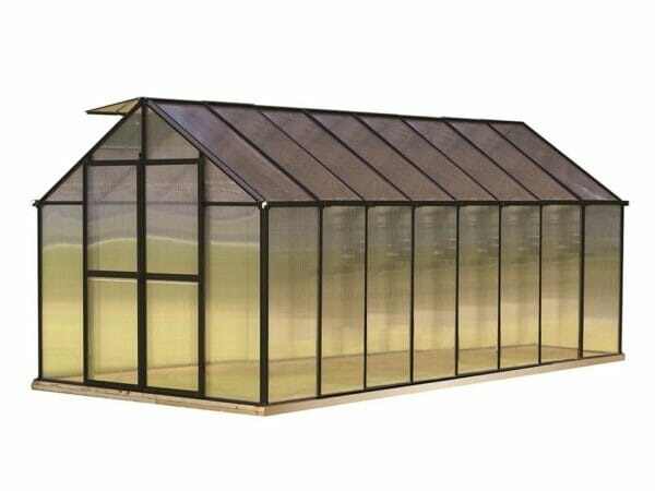 Riverstone Monticello Greenhouse 8x16 in black with white background
