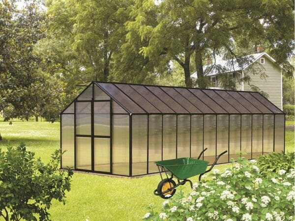 Black Riverstone Monticello Greenhouse 8x24 - Mojave Package in a garden