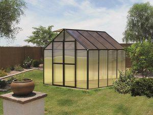 Black Riverstone Monticello Greenhouse 8x8 in a garden