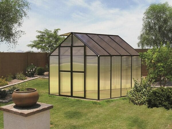 Black Riverstone Monticello Greenhouse 8x8 in a garden