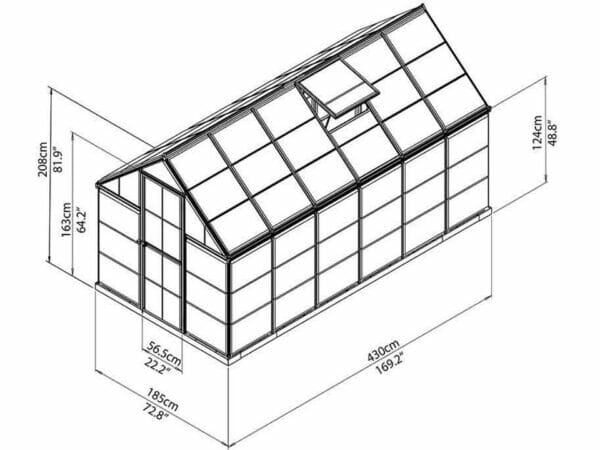 Palram Mythos 6ft x 14ft Hobby Greenhouse HG5014 - full view of framework with dimensions