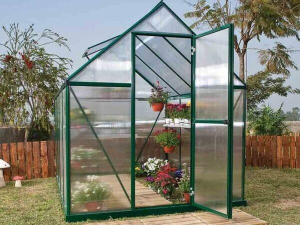 Palram Mythos 6ft x 8ft Hobby Greenhouse HG5008 - full view  - in a garden