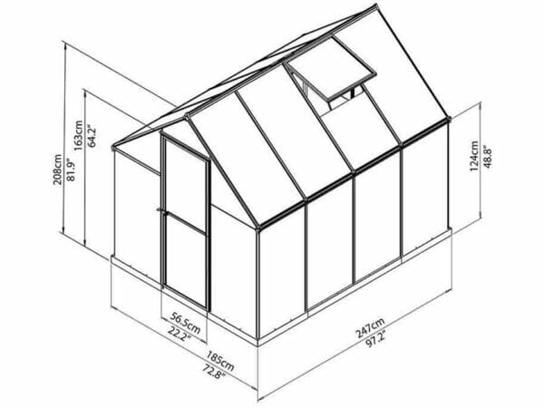 Palram Mythos 6ft x 8ft Hobby Greenhouse HG5008 - full view of framework with dimensions