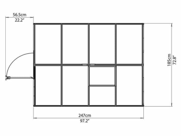 Palram Mythos 6ft x 8ft Hobby Greenhouse HG5008 - top view of framework with dimensions