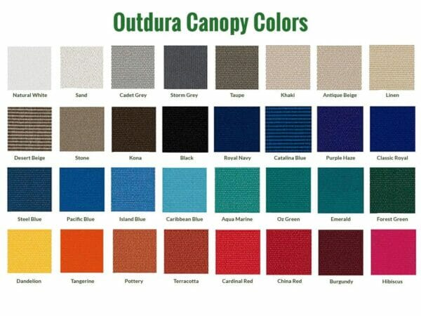 Color grid of the Outdura canopies for the Acacia Gazebo