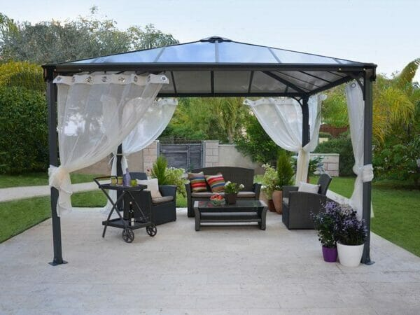 Installed Palermo Gazebo Netting Set - 4 Piece - in a garden