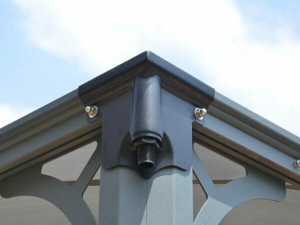 Palermo Hard Top Gazebo - corner top view with downspout
