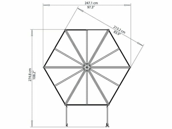 Palram 7ft x 8ft Oasis Hex Greenhouse - HG6000 - top view  - framework with dimensions