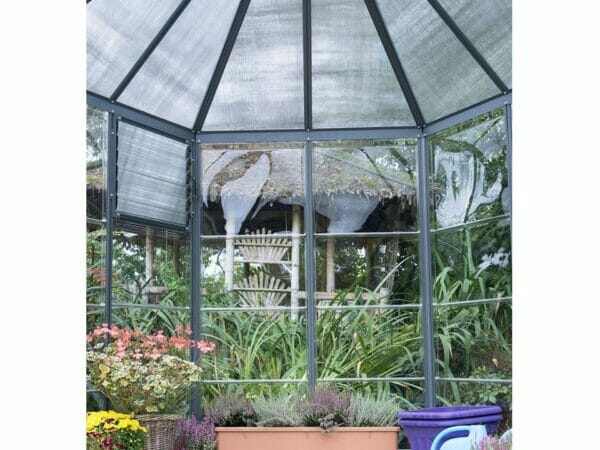 Palram 7ft x 8ft Oasis Hex Greenhouse - HG6000 - top framework view from the inside