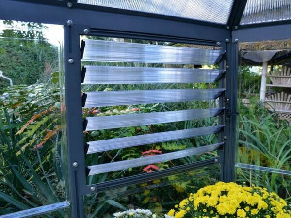 Palram 7ft x 8ft Oasis Hex Greenhouse - HG6000 - side louvre window - view from the inside