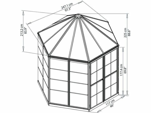 Palram 7ft x 8ft Oasis Hex Greenhouse - HG6000 - framework with dimensions
