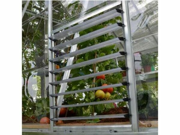Open Palram Side Louver Window - attached to a greenhouse