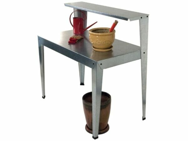 Side view of the Galvanized Potting Bench in white background with accessories