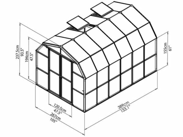 Rion Prestige 2 Twin Wall 8ft x 12ft Greenhouse HG7312 - full view of framework with dimensions