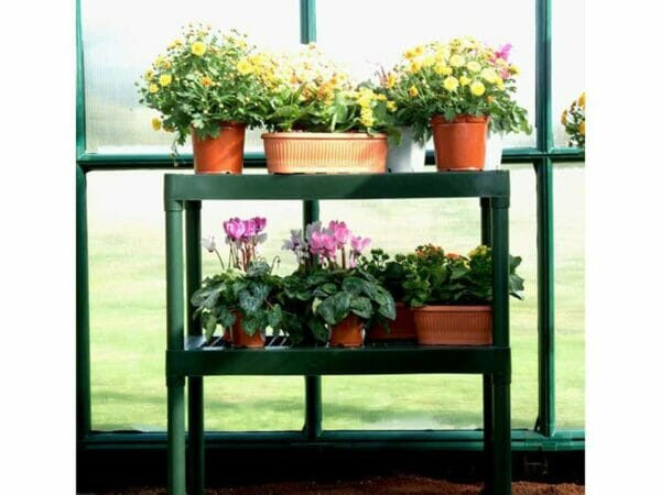 Rion Prestige 2 Twin Wall 8ft x 12ft Greenhouse HG7312 - two tier bench with plants