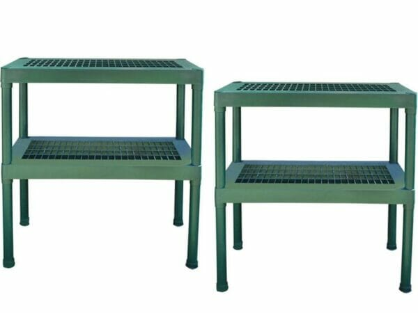 Rion Prestige 2 Twin Wall 8ft x 12ft Greenhouse HG7312 - two green two tier benches