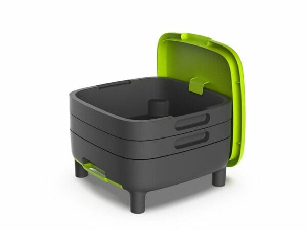Open MAZE Worm Farm with green lid hanging on the side securely