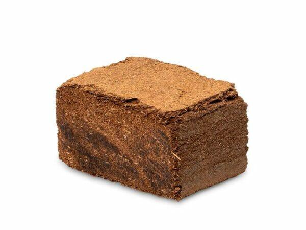 Brown block of coconut peat