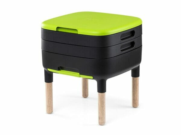 Green and black MAZE Worm Farm with wooden legs