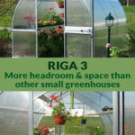 Riga 3 exterior view on top and Riga 3 interior view below with the text Riga 3 More headroom & space than other small greenhouses