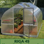 Riga 4s exterior view with open doors showing plants inside with the text Riga 4s Heavy-duty Greenhouse for the serious gardeners