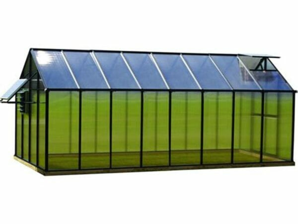 Monticello Greenhouse 8x16 side view, roof vent and window open