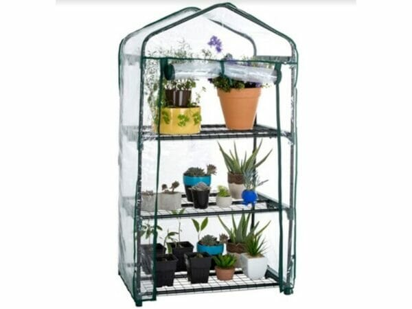 Genesis Portable Rolling Greenhouse with open clear cover and plants inside