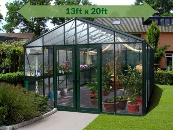 Front view of the Janssens Royal Victorian VI46 Greenhouse 13ft x 20ft, green arrow displaying text with dimensions 13ft x 20ft