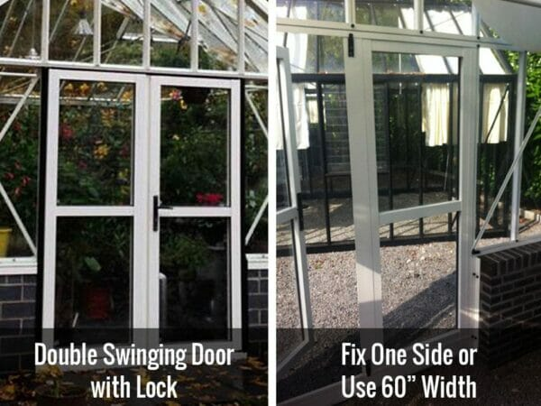 Two images side-by-side of the double swinging door on the Janssens T-Shaped Royal Victorian Antique Orangerie