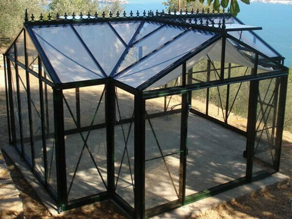 Empty Janssens T-Shaped Royal Victorian Orangerie 10ft x 16ft, large enough for social gatherings and all your favorite plants
