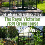 Janssens Royal Victorian VI34 Greenhouse with plants inside and open roof vent. Below is the front view with shade curtains and plants inside