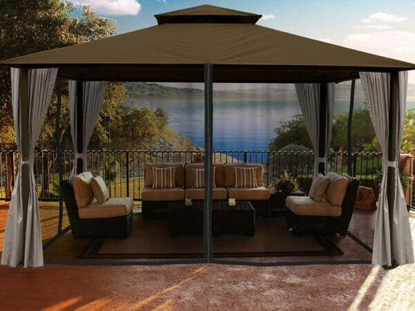 Sedona Gazebo with Cocoa Color roof and Open Privacy Curtains and Closed Mosquito Netting