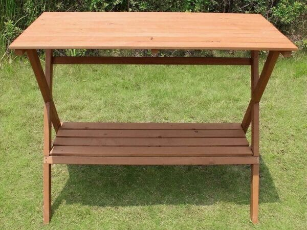 Empty Simple Potting Bench in the garden - front view
