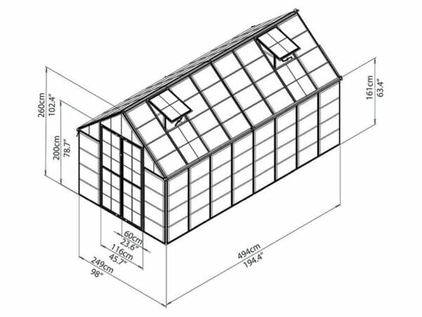 Palram 8ft x 16ft Snap & Grow Hobby Greenhouse - HG8016 - framework with dimensions