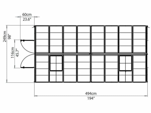 Palram 8ft x 16ft Snap & Grow Hobby Greenhouse - HG8016 - top view - framework with dimensions
