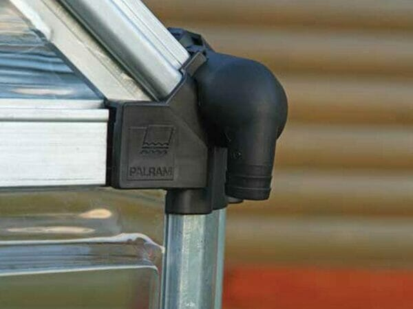 Extreme Close up of the Palram 6ft x 16ft Snap & Grow Hobby Greenhouse with black edge - downspout -  for Palram Hobby Greenhouses
