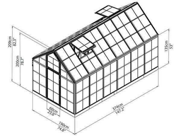 Full image framework of the Palram 6ft x 12ft Snap & Grow Hobby Greenhouse in white background for Palram Hobby Greenhouse