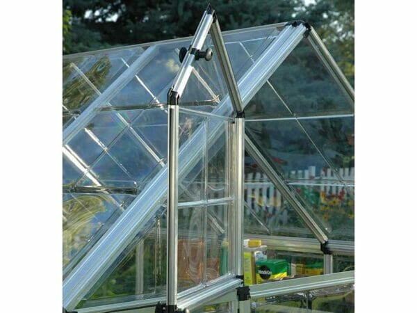 Close up of the Palram 6ft x 16ft Snap & Grow Hobby Greenhouse with window open for Palram Hobby Greenhouses