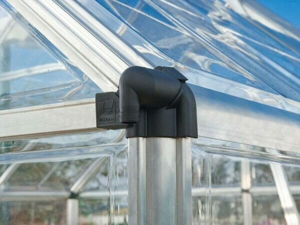 Close up of the Palram 6ft x 16ft Snap & Grow Hobby Greenhouse with black edge for Palram Hobby Greenhouses