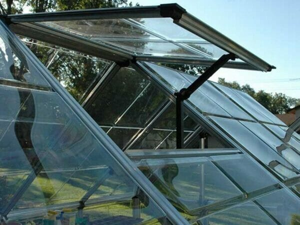 Close up of the Palram 6ft x 16ft Snap & Grow Hobby Greenhouse with roof vent open for Palram Hobby Greenhouses