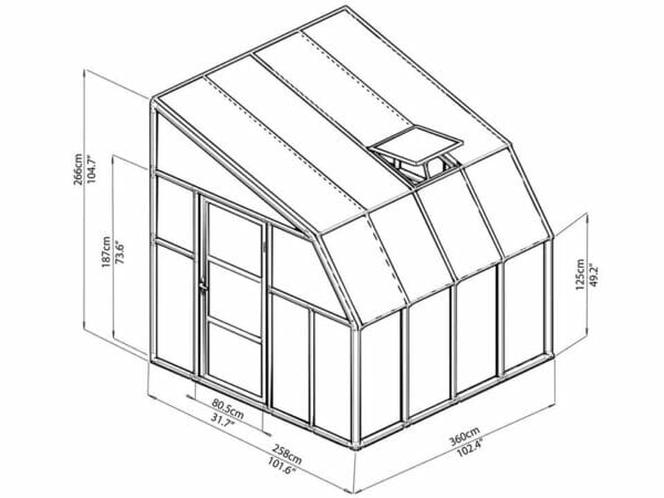 Rion 8ft x 8ft Sun Room 2 Greenhouse - HG7608 - full view of framework with dimensions