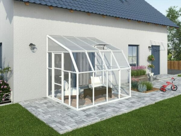 Rion 8ft x 8ft Sun Room 2 Greenhouse - HG7608 - by the wall - full view