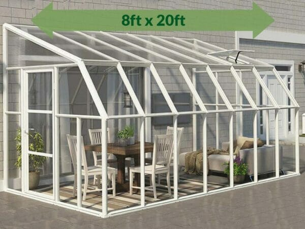 Rion 8ft x 20ft Sun Room 2 Greenhouse - HG7620 - full view - green arrow - by the wall