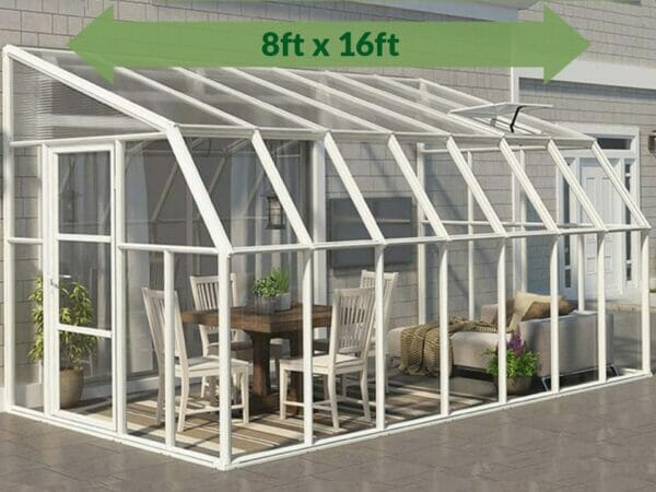 Rion 8ft x 16ft Sun Room 2 Greenhouse - HG7616 - full view - by the wall - green arrow on top