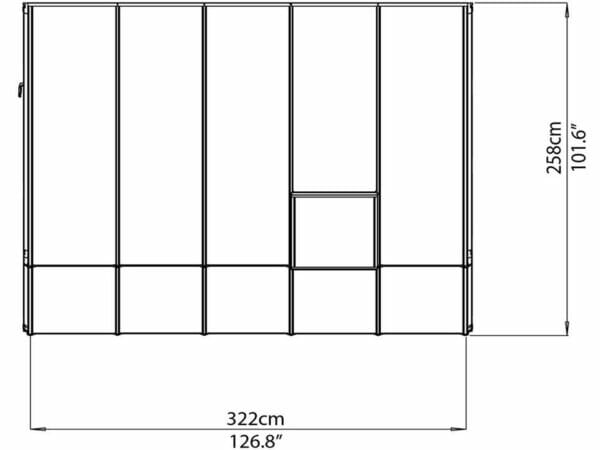 Rion 8ft x 10ft Sun Room 2 Greenhouse - HG7610 - top view of framework with dimensions