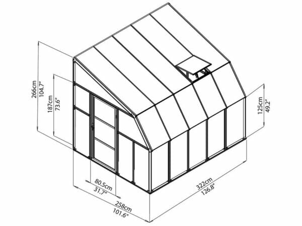 Rion 8ft x 10ft Sun Room 2 Greenhouse - HG7610 - full view of framework with dimensions