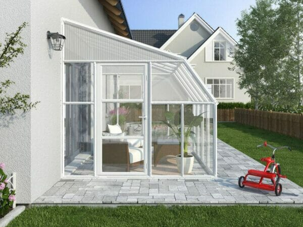 Rion 8ft x 16ft Sun Room 2 Greenhouse - HG7616 - side view - by the wall