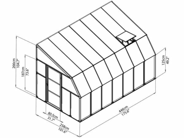 Rion 8ft x 14ft Sun Room 2 Greenhouse - HG7614 - full view of framework with dimensions