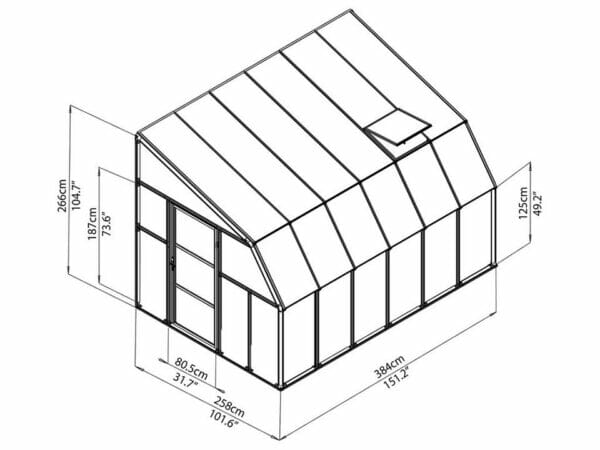 Rion 8ft x 12ft Sun Room 2 Greenhouse - HG7612 - full view of framework with dimensions
